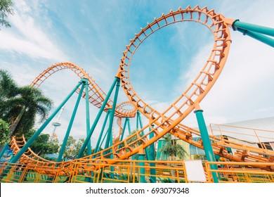 BANGKOK,THAILAND - AUGUST 8,2017 : Amusement park rides at Siam Park City in Bangkok