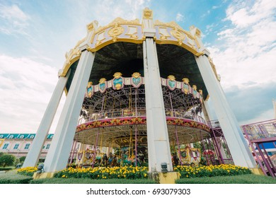 BANGKOK,THAILAND - AUGUST 8,2017 : Carousel in amusement park. At Siam Park City in Bangkok