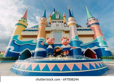 BANGKOK,THAILAND - AUGUST 8,2017 : Castle in amusement park. At Siam Park City in Bangkok