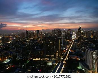 BANGKOK,THAILAND - CIRCA November 2017 :Bangkok skyline  aerial purple sunset sukhumvit