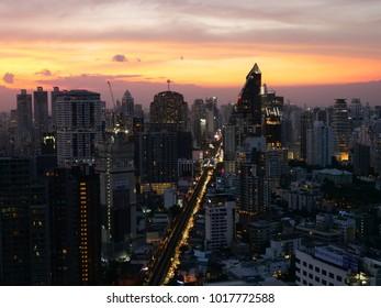 BANGKOK,THAILAND - CIRCA November 2017 :Bangkok aerial golden skyline sukhumvit