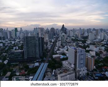 BANGKOK,THAILAND - CIRCA November 2017 :Bangkok aerial afternoon skyline sukhumvit