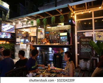 BANGKOK,THAILAND - CIRCA November 2017 :craft beer bar in w district