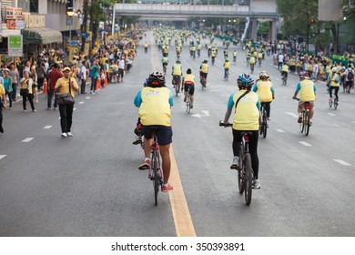 """Bangkok,THAILAND, DECEMBER 11-2015 : People joining an event """"Bike for Dad to celebrate the 88th birthday anniversary of His Majesty King Bhumibol Adulyadej on December 11, 2015 in Bangkok, Thailand."""