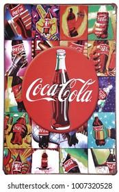 Bangkok,Thailand - - December  ,2017 : Coca-Cola Zinc plate very vintage at Bangkok,Thailand