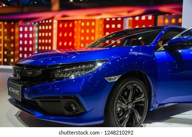 Bangkok,THAILAND - December 2,2018 :Honda Thailand has previewed the new Honda Civic 2019 at the ongoing Thai Motor Expo,Civic was even shown with blue color and turbo engine.Multi-Mode Drive system.
