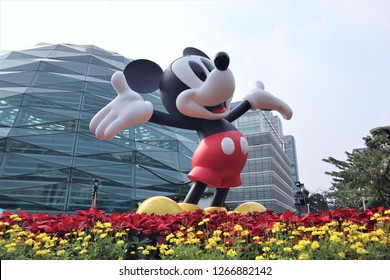 Bangkok/Thailand - December 22th, 2018. Mickey Mouse figure for Celebration of Mickey Mouse's 90th Anniversary at KING POWER Rangnam