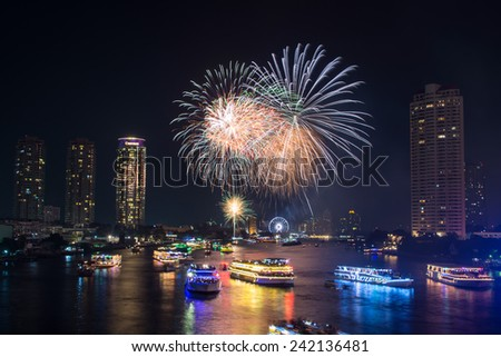 bangkokthailand december 312014 the happy new year 2015 exploding fireworks
