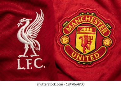 BANGKOK,THAILAND- DECEMBER 5: The Logo of Liverpool and Manchester United on Football Jerseys.Both of them will face each other in EPL this month  on December 5,2018.