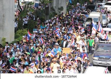 Bangkok,Thailand - December 9, 2013: Anti-government protesters in Bangkok, Thailand. The protest Against The government in Bangkok, capital of Thailand