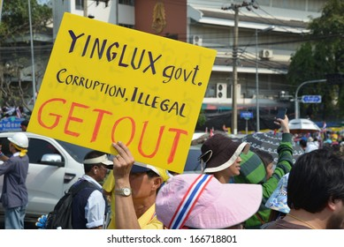 BANGKOK,THAILAND- December 9, 2013: A rally of the People's Army against Thaksin regime at Government House on December 9, 2013 in Bangkok, Thailand.