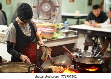 Bangkok,Thailand - December,2017 : she name is Jay Fai  ,Thailand superstar chef cooking at street food , Bangkok,Thailand