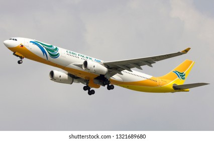 Bangkok/THAILAND - FEB 24 2019 --Cebupacific airlines Airbus a330-300  take off from Suvarnabhumi airport VTBS