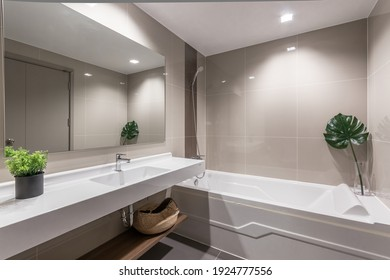 BangkokThailand - Feb 25 2021 : Clean and white bathroom with amenities.