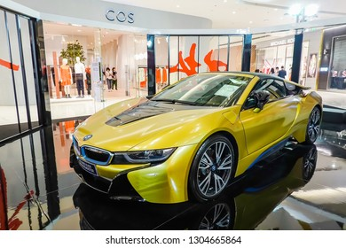 BANGKOK,THAILAND - Feb 4, 2019: The New BMW i8 Roadster 2018, BMW's Convertible Hybrid Performance Car presented in Icon Siam 2019