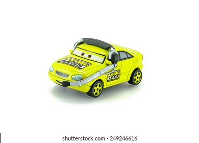 Bangkok,Thailand - February 02, 2015: Earl Filter Leak Less Adult Drip Pan a protagonist of the Disney Pixar feature film Cars. A diecast cars collection from Takara Tomy.