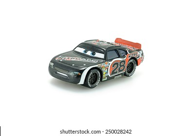 Bangkok,Thailand - February 02, 2015: Number 28 Nitroade racer Aiken Axler a protagonist of the Disney Pixar feature film Cars. A diecast cars collection from Takara Tomy.