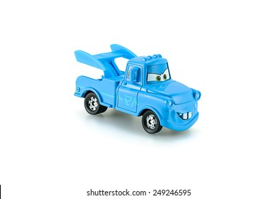 Bangkok,Thailand - February 02, 2015: Tow Mater plain blue a main protagonist of the Disney Pixar feature film Cars. A diecast cars collection from Takara Tomy.