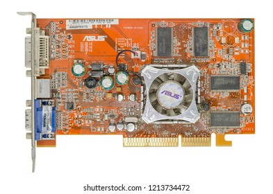 Bangkok,Thailand : February 03, 2016 Old ASUS processor chip on mainboard isolated on white background,The best of processor chip.