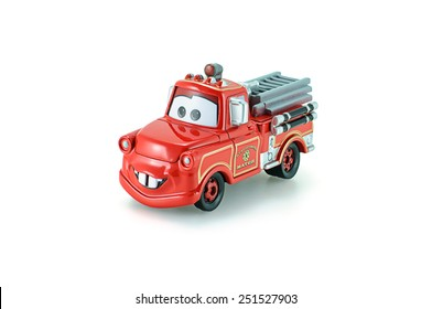 Bangkok,Thailand - February 05, 2015: Rescue squad Mater toy car a protagonist of the Disney Pixar feature film Cars. A diecast cars collection from Takara Tomy.