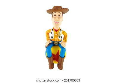 Bangkok,Thailand - February 08, 2015: Sheriff Woody toy on red star ball a fictional character in the Toy Story franchise. This figure by disney Pixar inc.