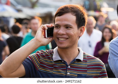 BANGKOK,THAILAND - FEBRUARY 1 2015: Tourist at JJ Market in Bangkok.Famous market and celebrated tourist attraction.Majority tourist from China and Korea. Minority tourist from Europe Africa and USA.