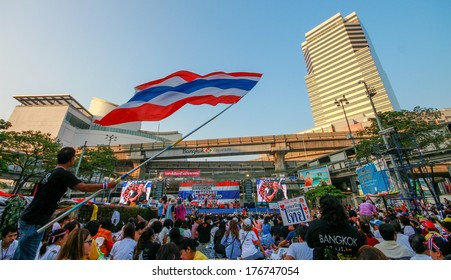 BANGKOK,Thailand - February 14,2014 : protesters join an anti-government rally Thailand. in Bangkok,Thailand