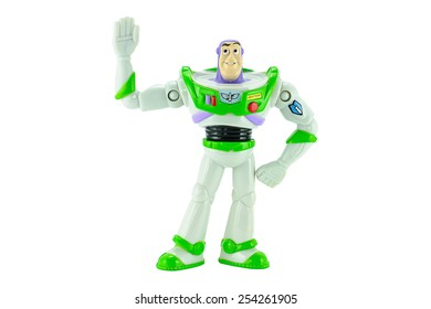 Bangkok,Thailand - February 15, 2015: Buzz Lightyear robot toy character form Toy Story animation film. There are plastic toys sold as part of the McDonald's Happy meals.