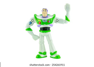 Bangkok,Thailand - February 15, 2015: Buzz Lightyear robot toy character form Toy Story animation film. There are plastic toy sold as part of the McDonald's Happy meals.