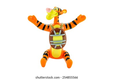 Bangkok,Thailand - February 15, 2015: Tigger tiger toy character from Disney Winnie the Pooh cartoon. There are plastic toy sold as part of the McDonald's Happy meals.