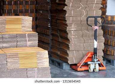 Bangkok/Thailand - February 15,2019 :  Working day in storehouse seeing piles of paper boxes store in paper box factory or manufacturer/supplier/ wholesaler warehouse