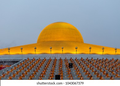 BANGKOK,THAILAND - FEBRUARY 22, 2016: Unidentified Thai monks during Buddhist ceremony Magha Puja Day in Wat Phra Dhammakaya, Bangkok, Thailand