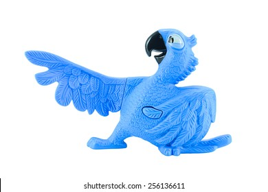 Bangkok,Thailand - February 24, 2015: Blu the  blue macaws toy character form RIO animation film. There are plastic toy sold as part of the McDonald's Happy meals.