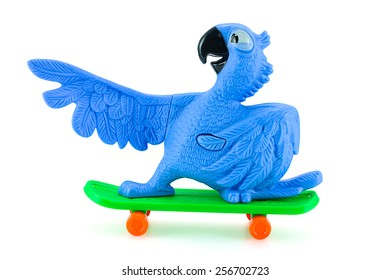 Bangkok,Thailand - February 24, 2015: Blu the  blue macaws on skateboard toy character form RIO animation film. There are plastic toy sold as part of the McDonald's Happy meals.