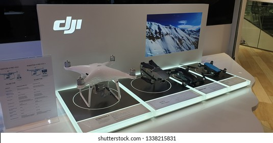 BANGKOK,THAILAND - FEBRUARY 24,2019 ; Various type of dji brand model display for sale at dji phantom store in Siam Discovery Shopping Mall.dji is a Chinese technology company manufacturer of drones.