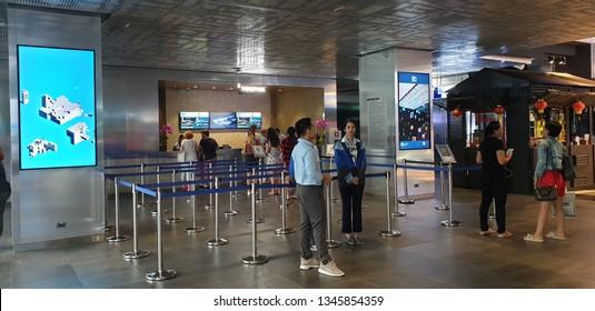 BANGKOK,THAILAND - FEBRUARY 26,2019 ; Ticket sale point of MahaNakhon Skywalk,The skywalk located on the top of King Power MahaNakhon Building,is a mixed-use skyscraper in Bangkok.