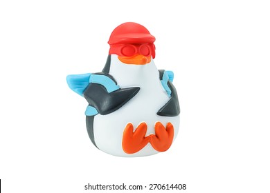 Bangkok,Thailand - February 29, 2015: Penguin toy character form Penguins of Madagascar animation film isolated on white. There are plastic toy sold as part of the McDonald's Happy meals.
