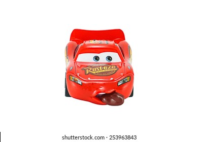 Bangkok,Thailand - February 8, 2015: Tongue Lighting Mcqueen toy car a protagonist of the Disney Pixar feature film Cars. A diecast cars collection from Mattel inc.