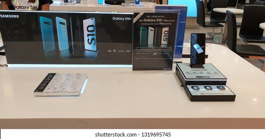 BANGKOK,THAILAND - FEBUARY 21,2019 ; Release date.Samsung Galaxy S10,S10+ and S10e can be pre-ordered now.Samsung's S-series of flagship smartphones.