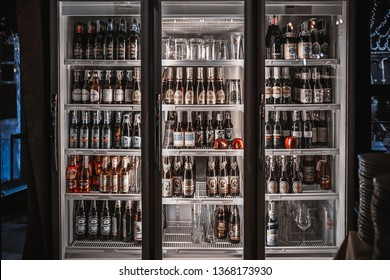 Bangkok/Thailand - Jan 12 2019 : Bottles of craft beer in Refrigerator in Thai restaurant, craft beer, microbreweries in Thailand is illegal and have to be imported from outside.