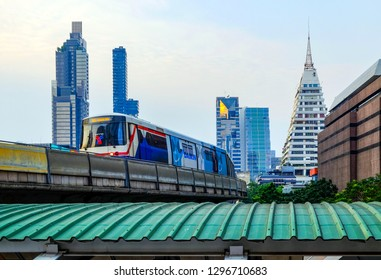 Bangkok-Thailand JAN 19 2019: BTS SkyTrain on cityscape background, BTS SkyTrain is a mass transit system in Bangkok to help facilitate and speed the journey.