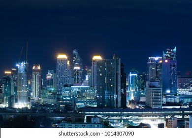 Bangkok,Thailand Jan 31 2018 : The Building in the capital city full with light in the clearly night