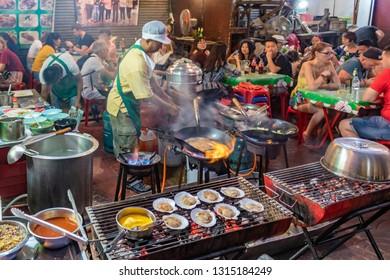 Bangkok/Thailand - January 1, 2019: Yaowarat street food market in Chinatown