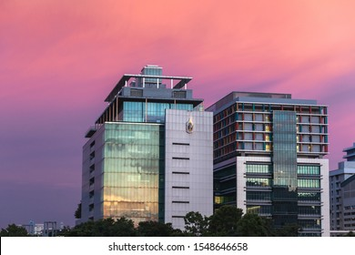 Bangkok,Thailand -January 10 2018 : Siriraj hospital buildings with twilight