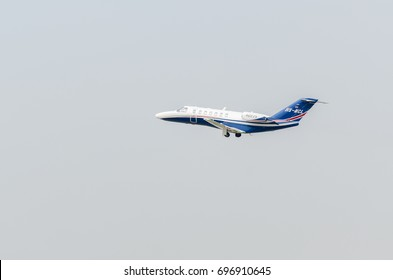 BANGKOK,THAILAND - JANUARY  14, 2017: airplane Cessna Citation CJ3 of mjets airline private jet take off from Donmueang Airport (DMK)
