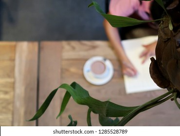 Bangkok/thailand - January 14,2019 : A blurred shot of young Asian woman working with her paper work in 24 hours cafe or co-working space with some green plant as foreground.