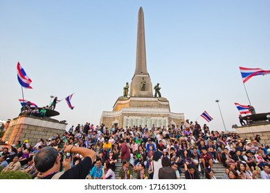 BANGKOK,THAILAND- JANUARY 15 : Thousands of protesters walked for anti government corruption (Prime Minister Yingluck Shinawatra ) at central Bangkok. on January 15,2014 in Bangkok,Thailand.