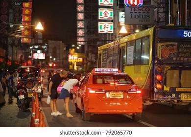 Bangkok,Thailand - January ,2018 : Unidentified tourist with taxi at yaowarat road , Bangkok,Thailand