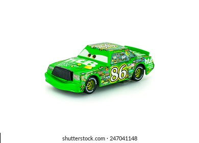 Bangkok,Thailand - January 22, 2014: Chick Hicks t main protagonist of the Disney Pixar feature film Cars. A diecast cars collection from mattel inc.