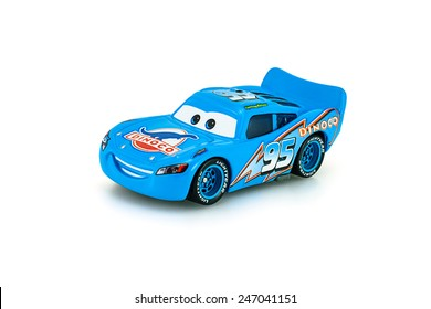 Bangkok,Thailand - January 22, 2014: Dinoco McQueen main protagonist of the Disney Pixar feature film Cars. A diecast cars collection from mattel inc.